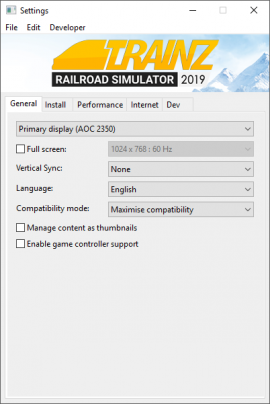 Help:TRS19 Trainz Settings - TrainzOnline